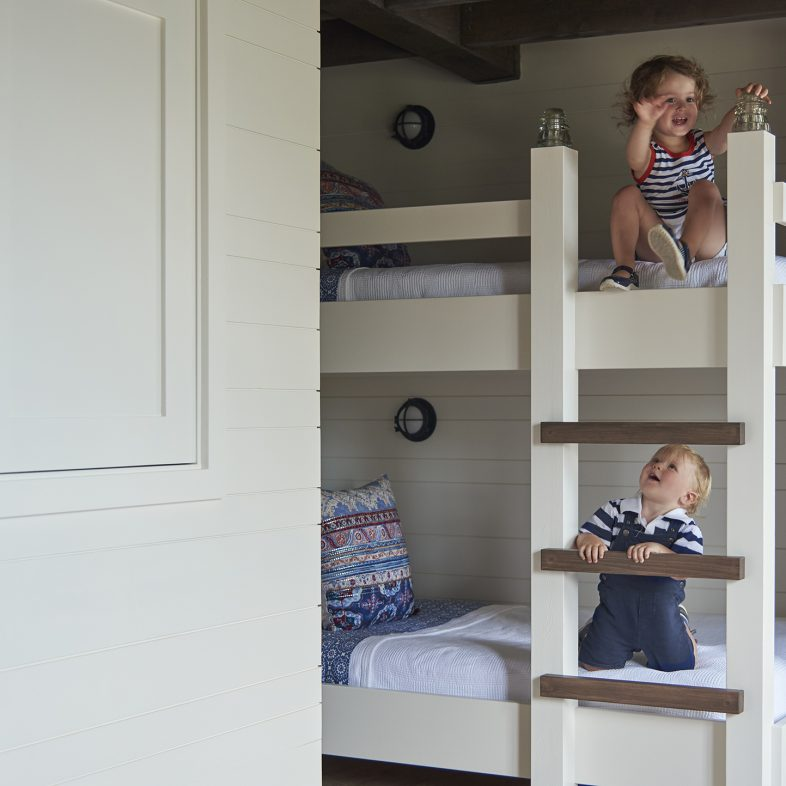 Children testing out the bunk beds at the bunkhouse at Basque in the Sun