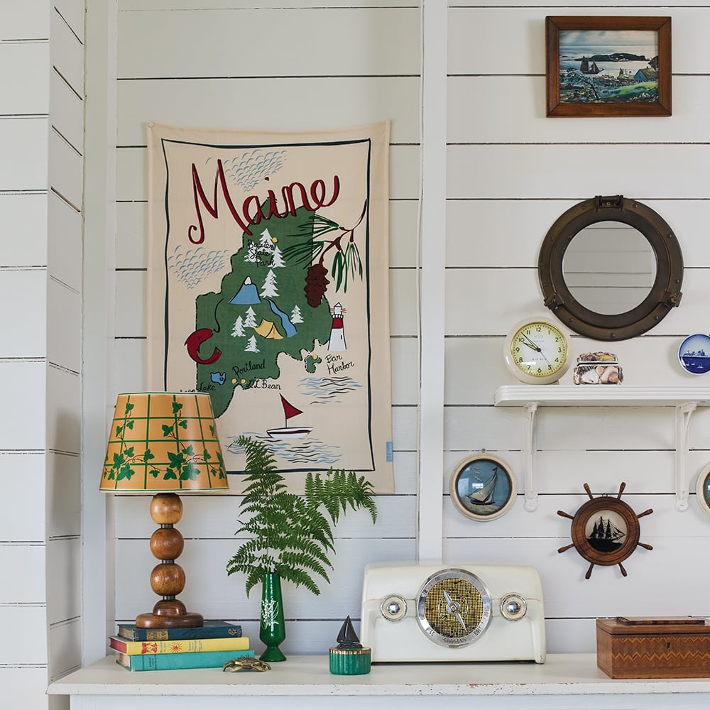 A close-up of the nautical Maine theme with antiques