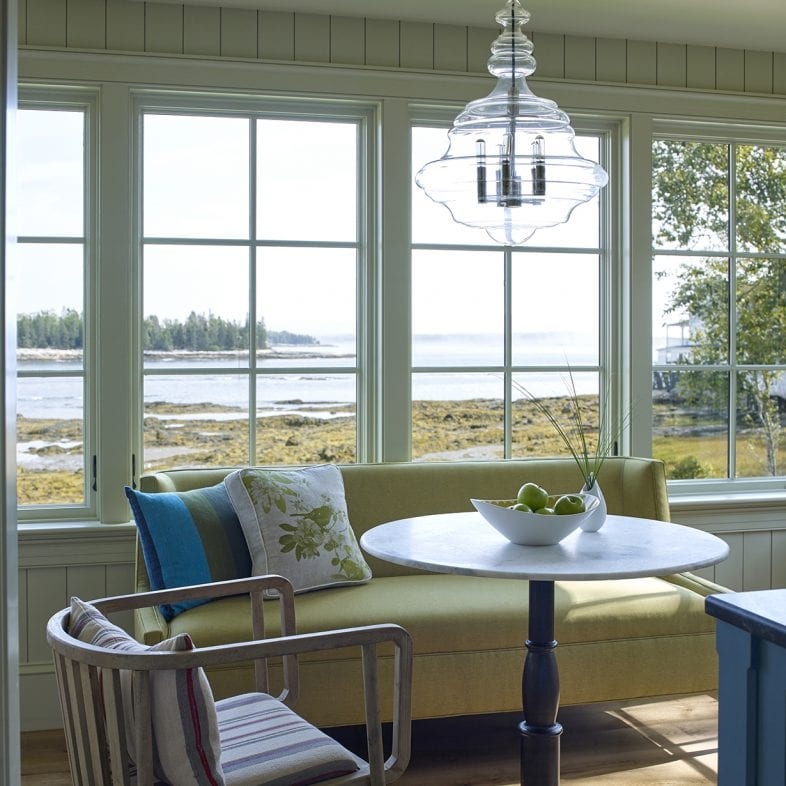 Cozy breakfast nook with water views at Capitol Island