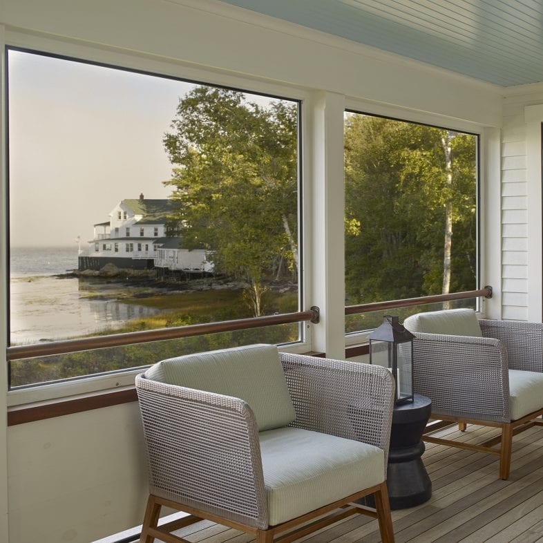 Screened in porch with water views at Capitol Island