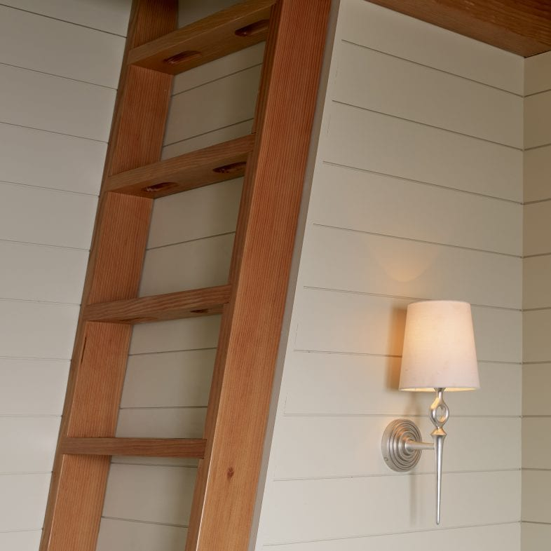 Wooden loft ladder at Capitol Island