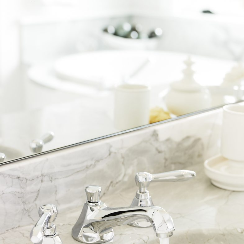 Marble countertop with silver hardware in the bathroom at Beach Cliff