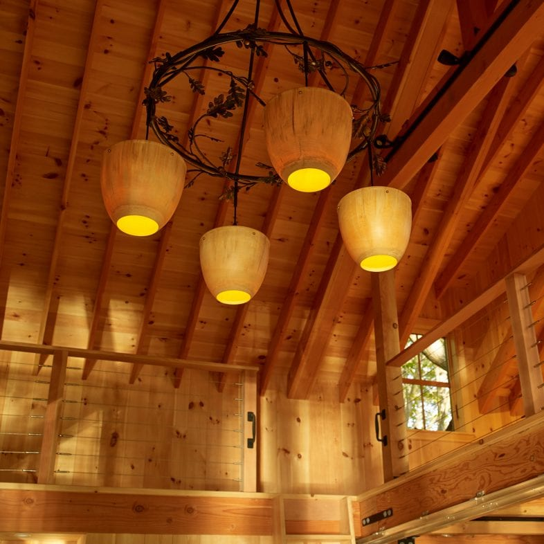 Oak inspired chandelier at Little Acorn Cottage