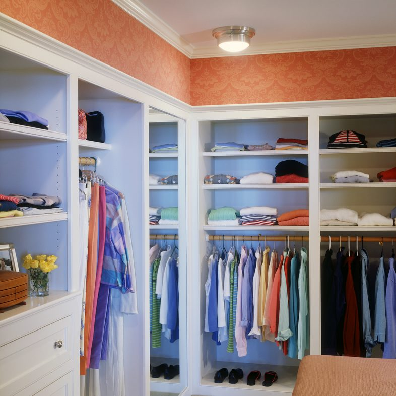 The walk-in closet with racks, built-in shelves and dresser.