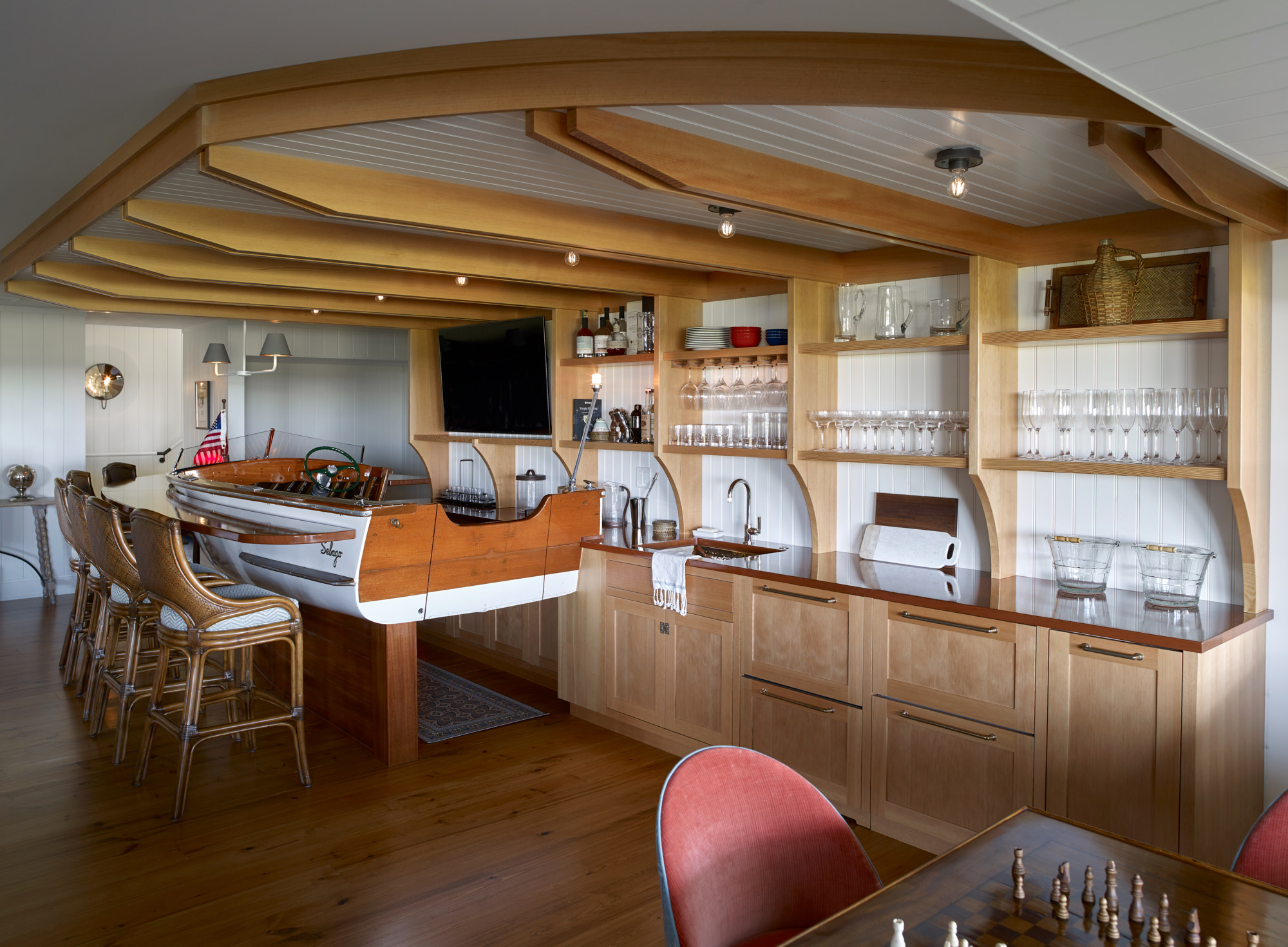 Nautical themed bar area with game table
