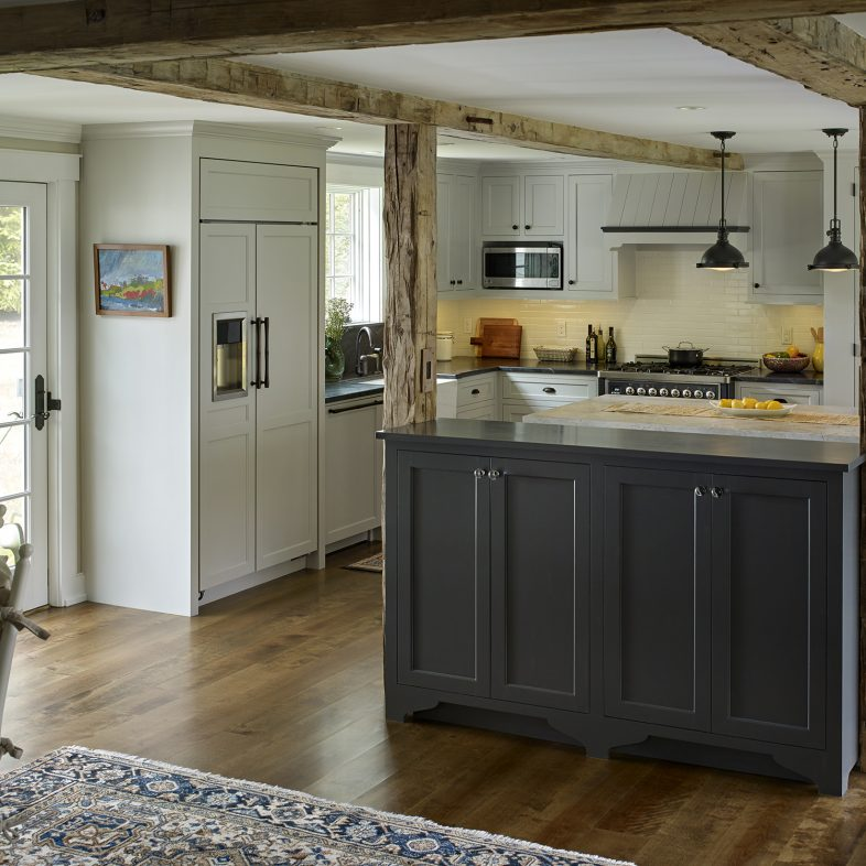 View of the kitchen at the Boothbay Farmhouse