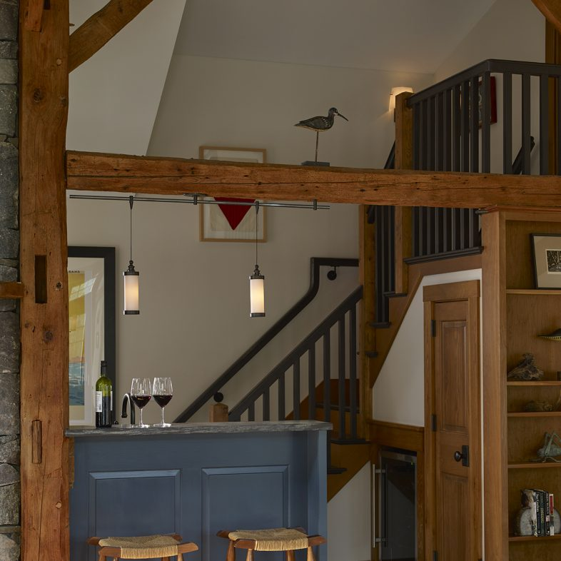 View of the bar from the dining space at the Boothbay Farmhouse