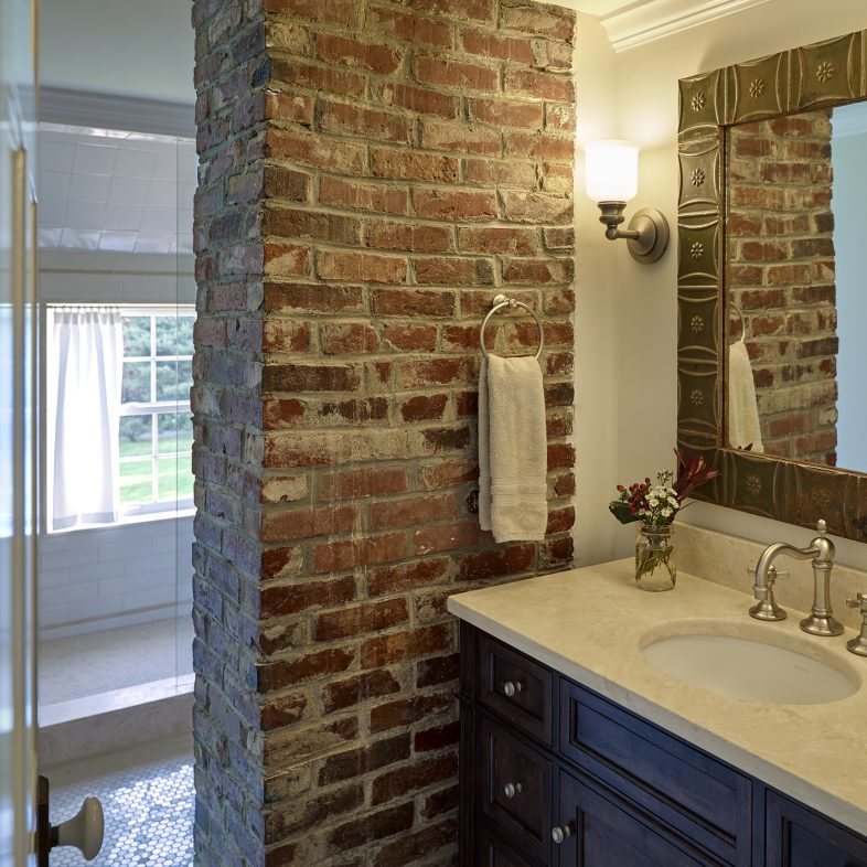 Brick detailing in the bathroom at the Boothbay Farmhouse