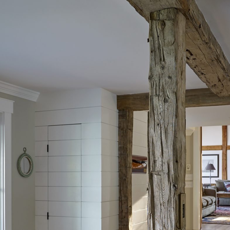 Reclaimed wood post and beam at the Boothbay Farmhouse