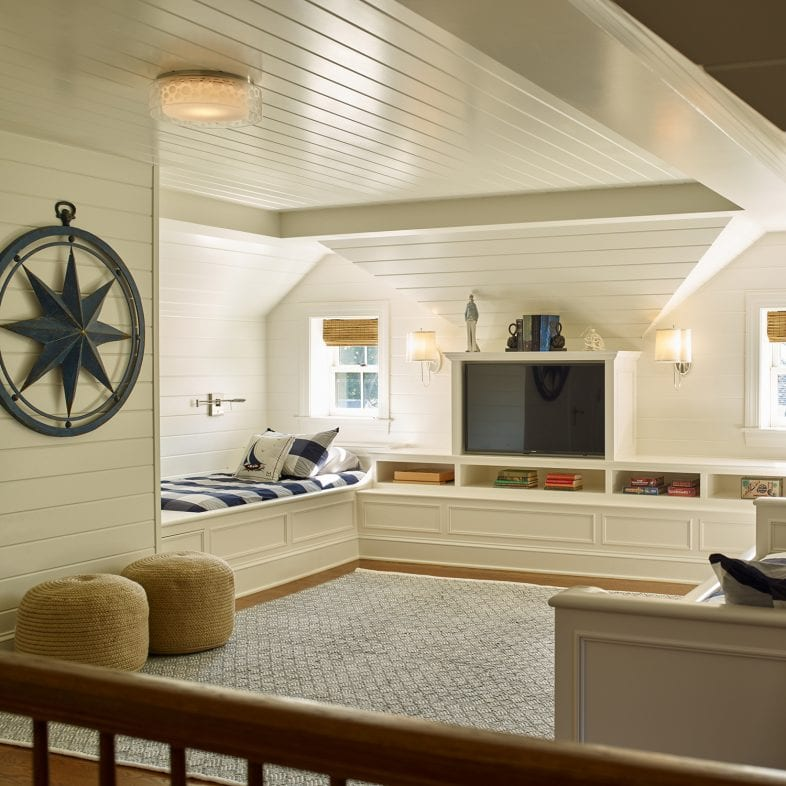 Bright, spacious room with a nautical theme.