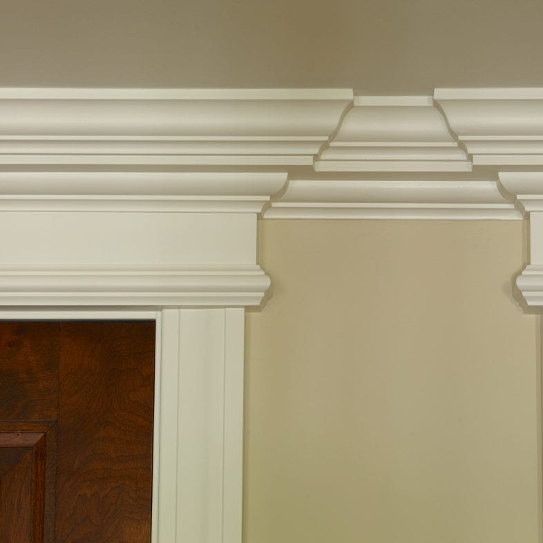 Stunning molding with clean lines and multiple doorframes.