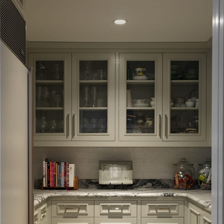 A pantry with cabinets and counterspace for storage.