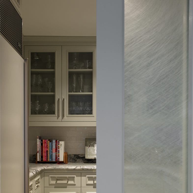 A look at the pantry with set-in freezer, counter space, storage, and frosted pocket door.