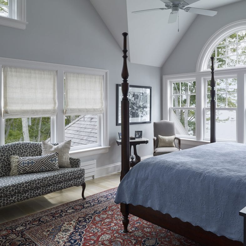 Master bedroom with coastal views and large windows