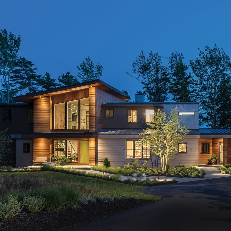 The approach to the contemporary Maine home.