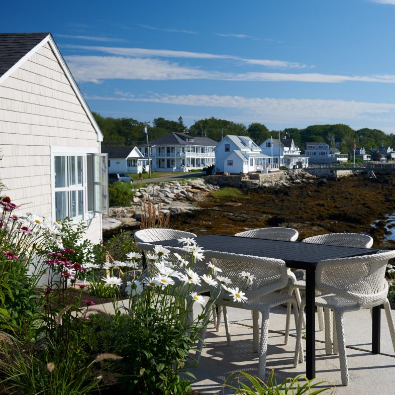 Twin Cove patio with coastal Maine views and outdoor dining opportunities.