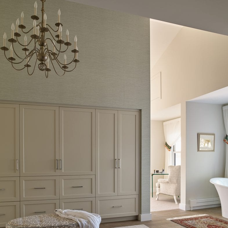 Spa area with closet space and elegant chandelier