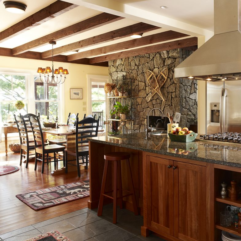 Open kitchen and dining area at Grass Roads Farmhouse