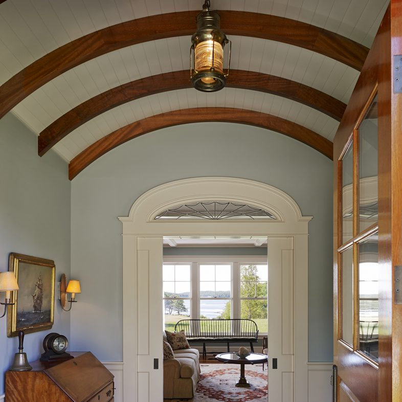 Arched ceiling in the front hall at Highfields