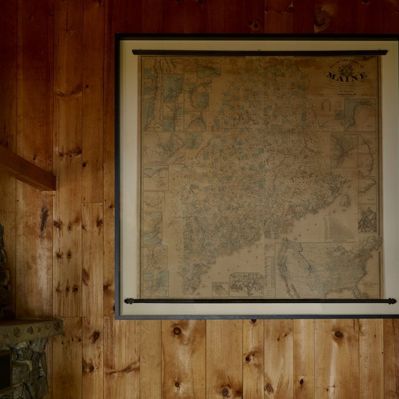 Vintage map of Maine at Little Acorn Cottage
